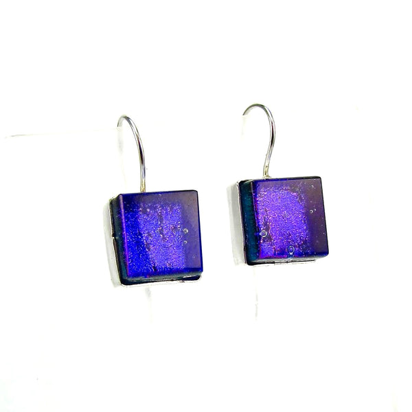 purple, square, earrings, fused glass, glass jewelry, glass and silver jewelry, handmade, handcrafted, American Craft, hand fabricated jewelry, hand fabricated jewellery,  Athen, Georgia, colorful jewelry, sparkle, bullseye glass, dichroic glass