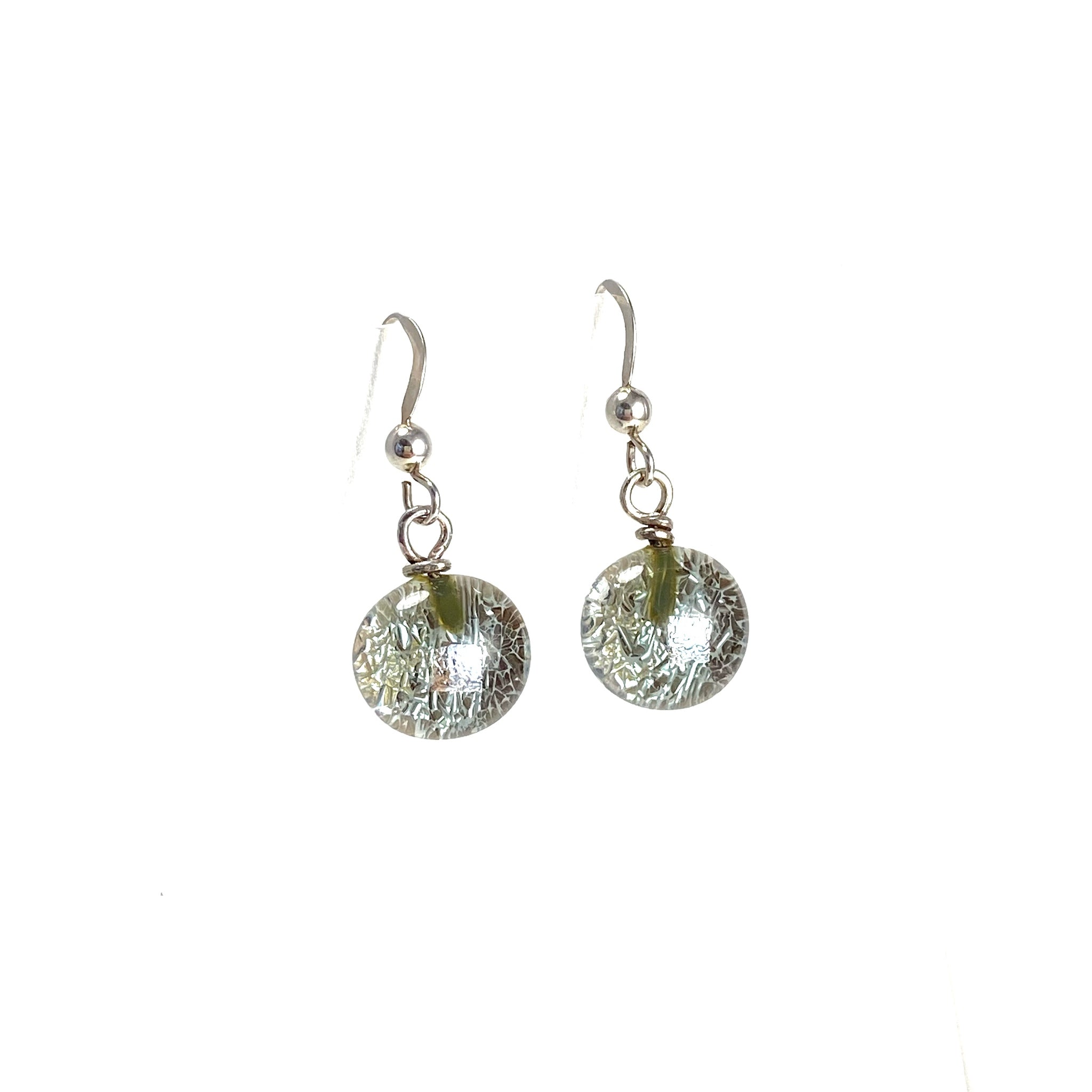 gray, space balls, sparkle, glass drops, earrings, fused glass, glass jewelry, glass and silver jewelry, handmade, handcrafted, American Craft, hand fabricated jewelry, hand fabricated jewellery, Athen, Georgia, colorful jewelry, sparkle, bullseye glass, dichroic glass, art jewelry