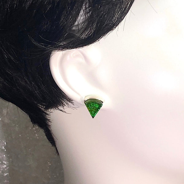 green, fan shape, post earrings, fused glass, glass jewelry, glass and silver jewelry, handmade, handcrafted, American Craft, hand fabricated jewelry, hand fabricated jewellery, Athen, Georgia, colorful jewelry, sparkle, bullseye glass, dichroic glass