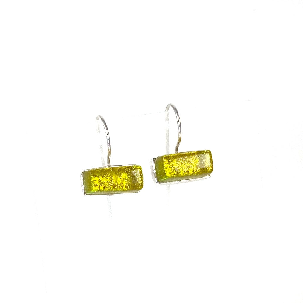 green, rectangle earrings, fused glass, glass jewelry, glass and silver jewelry, handmade, handcrafted, American Craft, hand fabricated jewelry, hand fabricated jewellery, Athen, Georgia, colorful jewelry, sparkle, bullseye glass, dichroic glass, art jewelry
