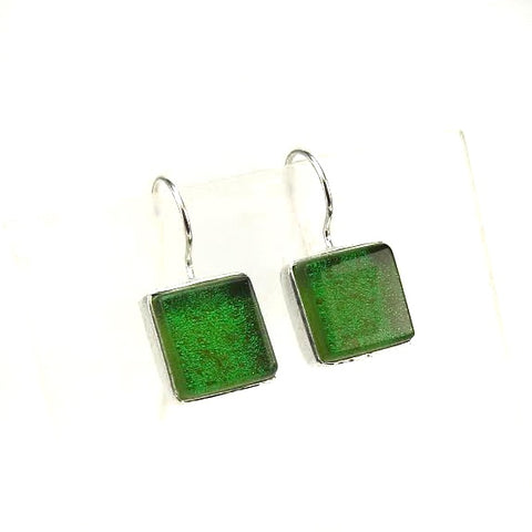 green, square, earrings, fused glass, glass jewelry, glass and silver jewelry, handmade, handcrafted, American Craft, hand fabricated jewelry, hand fabricated jewellery,  Athen, Georgia, colorful jewelry, sparkle, bullseye glass, dichroic glass