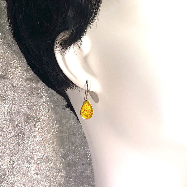 lemon, yellow, teardrop earrings, fused glass, glass jewelry, glass and silver jewelry, handmade, handcrafted, American Craft, hand fabricated jewelry, hand fabricated jewellery, Athen, Georgia, colorful jewelry, sparkle, bullseye glass, dichroic glass, art jewelry