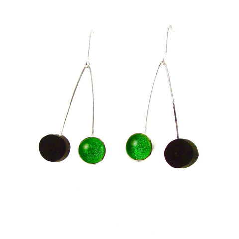 Mid century modern inspired earrings, ebony wood circles, green circle glass earrings, fused glass, glass jewelry, glass and silver jewelry, handmade, handcrafted, American Craft, hand fabricated jewelry, hand fabricated jewellery, Athen, Georgia, colorful jewelry, sparkle, bullseye glass, dichroic glass, art jewelry