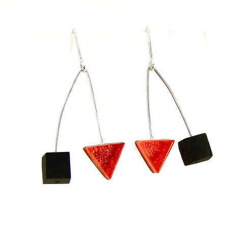 Mid century modern inspired earrings, ebony wood squares, orange triangle glass earrings, fused glass, glass jewelry, glass and silver jewelry, handmade, handcrafted, American Craft, hand fabricated jewelry, hand fabricated jewellery,  Athen, Georgia, colorful jewelry, sparkle, bullseye glass, dichroic glass, art jewelry