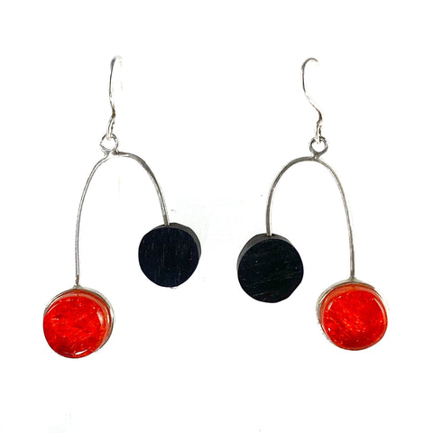 MCM Earrings with Ebony & Sangria Circles