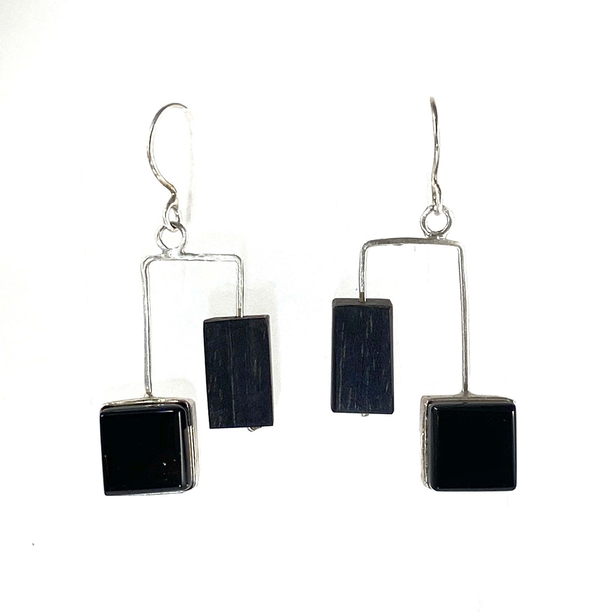 Mid Century Modern inspired, ebony wood and fused glass earrings, fused glass, glass jewelry, glass and silver jewelry, handmade, handcrafted, American Craft, hand fabricated jewelry, hand fabricated jewellery,  Athen, Georgia, colorful jewelry, sparkle, bullseye glass, dichroic glass, art jewelry