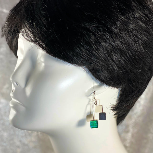 MCM Earrings with Ebony & Teal Squares