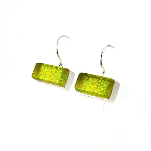 green, rectangles, earrings, fused glass, glass jewelry, glass and silver jewelry, handmade, handcrafted, American Craft, hand fabricated jewelry, hand fabricated jewellery,  Athen, Georgia, colorful jewelry, sparkle, bullseye glass, dichroic glass, art jewelry