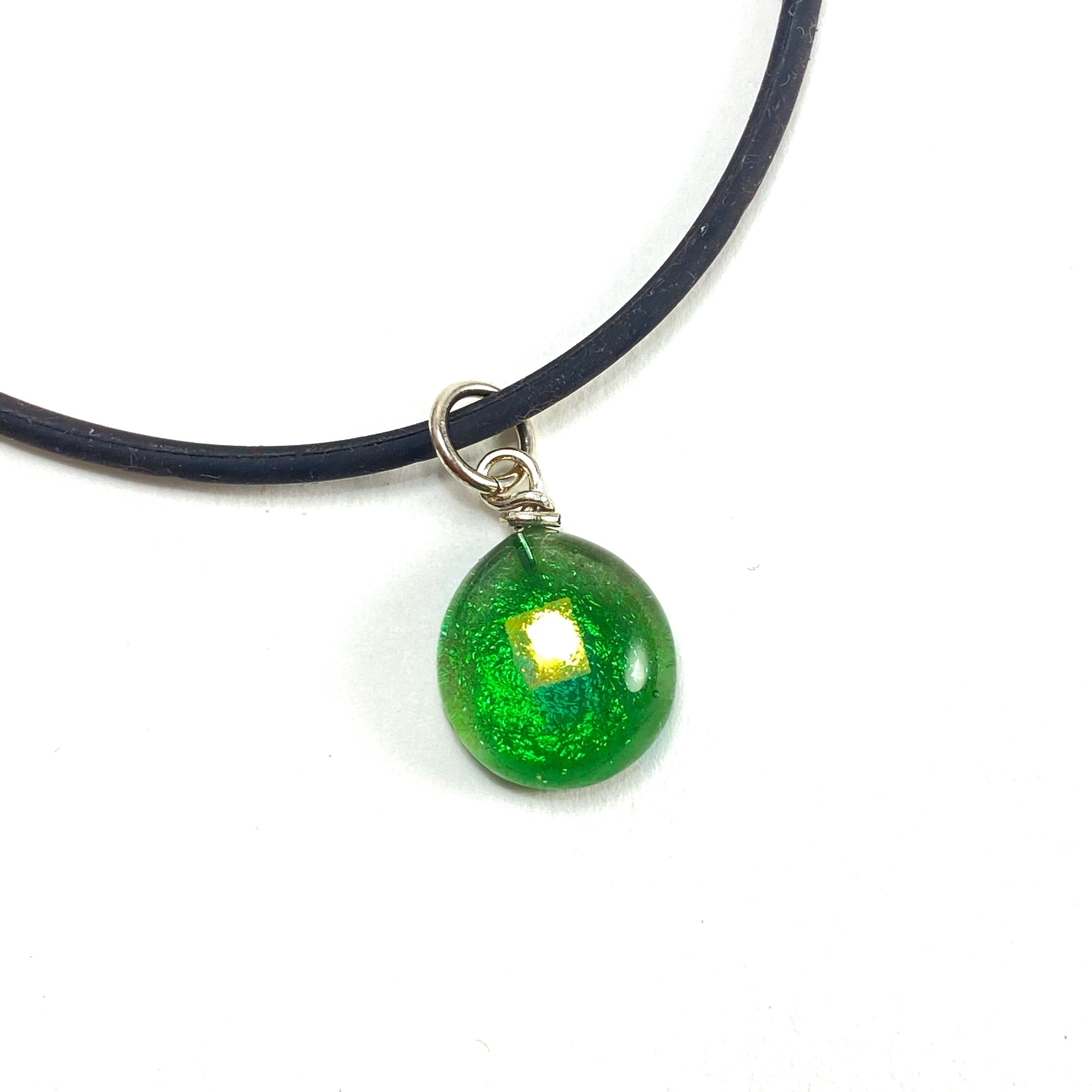 green glass ball necklace, fused glass, glass jewelry, glass and silver jewelry, handmade, handcrafted, American Craft, hand fabricated jewelry, hand fabricated jewellery,  Athen, Georgia, colorful jewelry, sparkle, bullseye glass, dichroic glass, art jewelry