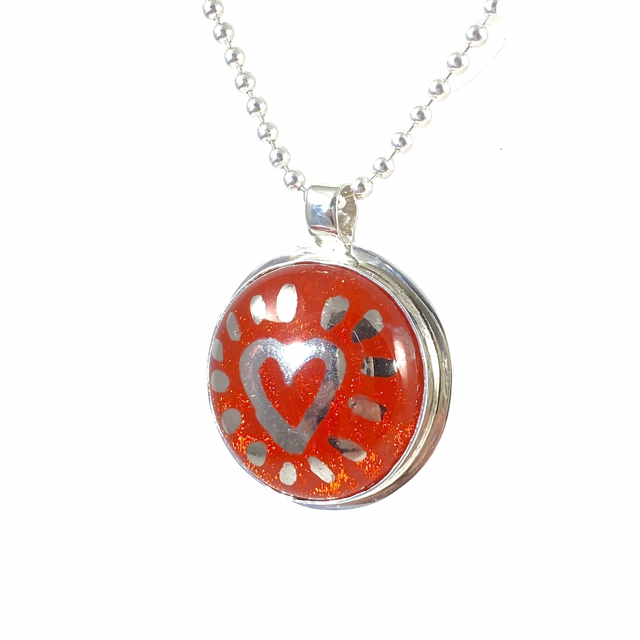 Painted Heart Necklace in Tangerine