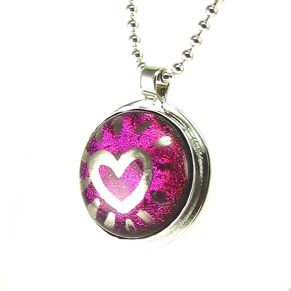 Silver luster painted heart over purple necklace, fused glass, glass jewelry, glass and silver jewelry, handmade, handcrafted, American Craft, hand fabricated jewelry, hand fabricated jewellery, Athen, Georgia, colorful jewelry, sparkle, bullseye glass, dichroic glass, art jewelry