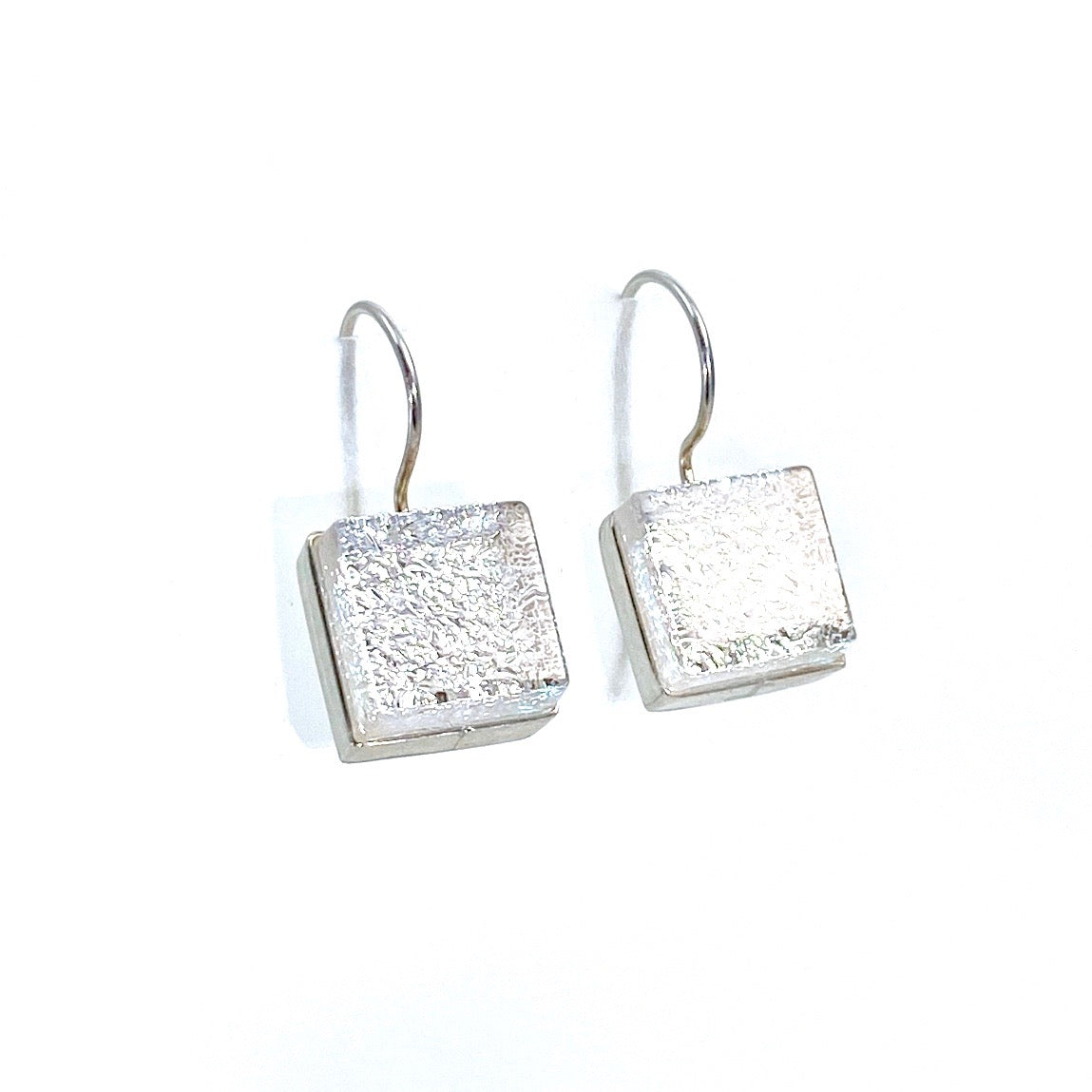 pearl, white, square earrings, fused glass, glass jewelry, glass and silver jewelry, handmade, handcrafted, American Craft, hand fabricated jewelry, hand fabricated jewellery,  Athen, Georgia, colorful jewelry, sparkle, bullseye glass, dichroic glass, art jewelry