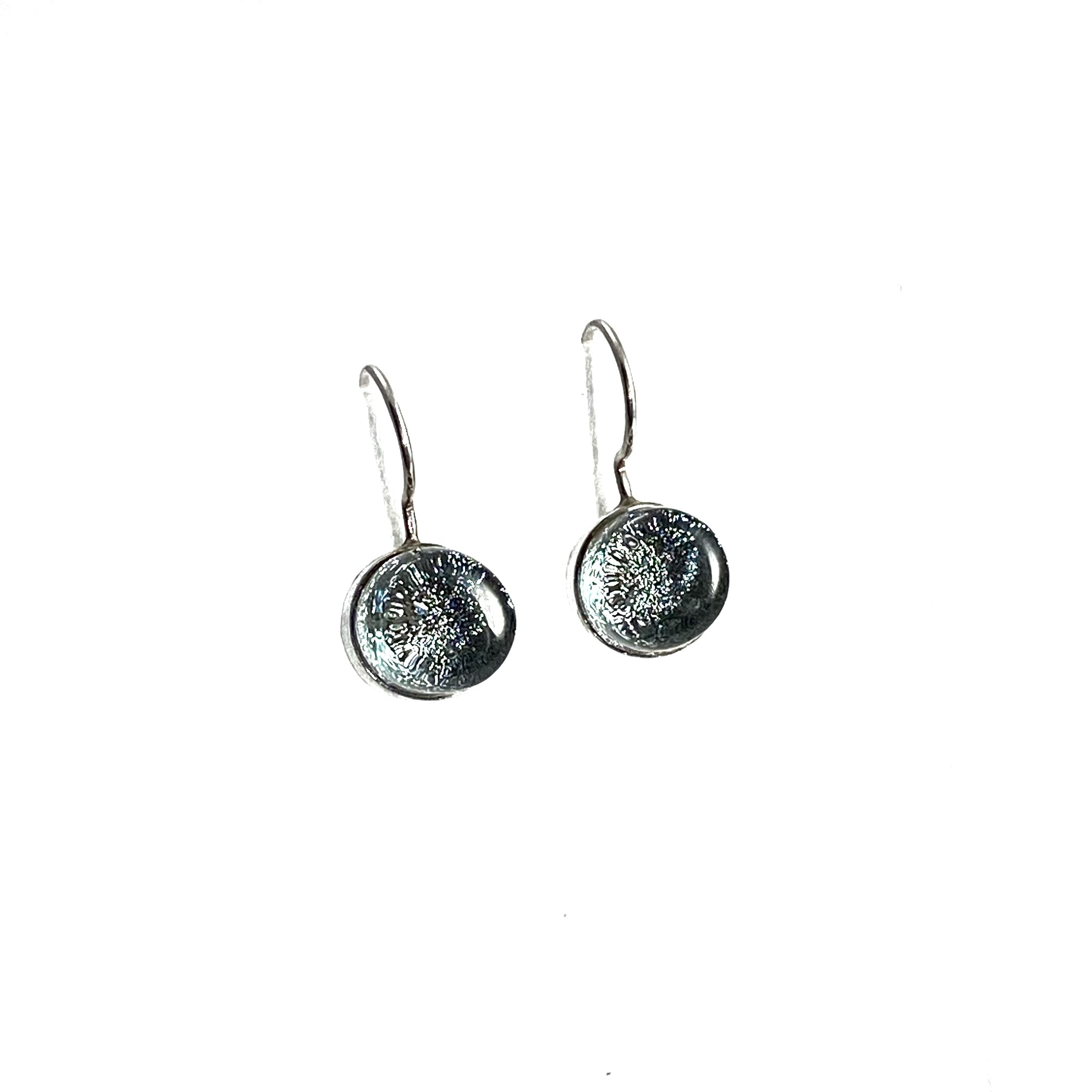 platinum, gray, circle earrings, fused glass, glass jewelry, glass and silver jewelry, handmade, handcrafted, American Craft, hand fabricated jewelry, hand fabricated jewellery,  Athen, Georgia, colorful jewelry, sparkle, bullseye glass, dichroic glass, art jewelry