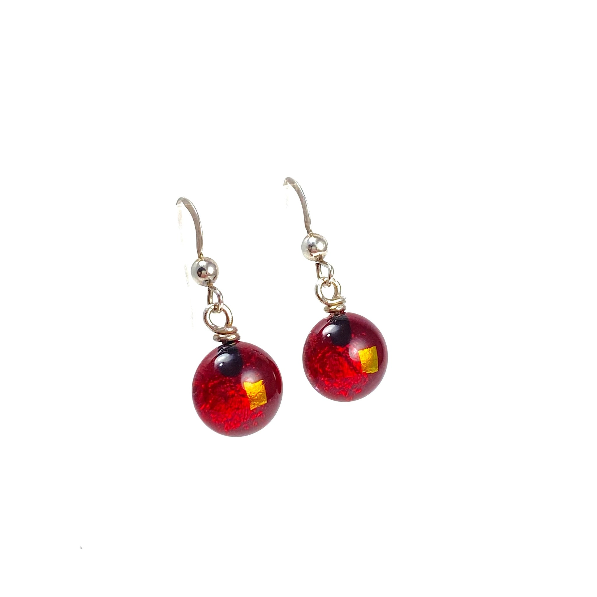 red, space balls, sparkle, glass drops, earrings, fused glass, glass jewelry, glass and silver jewelry, handmade, handcrafted, American Craft, hand fabricated jewelry, hand fabricated jewellery, Athen, Georgia, colorful jewelry, sparkle, bullseye glass, dichroic glass, art jewelry