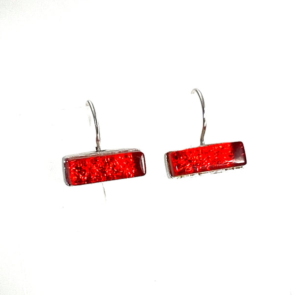 red, rectangle, earrings, fused glass, glass jewelry, glass and silver jewelry, handmade, handcrafted, American Craft, hand fabricated jewelry, hand fabricated jewellery,  Athen, Georgia, colorful jewelry, sparkle, bullseye glass, dichroic glass