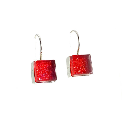 red square, earrings, fused glass, glass jewelry, glass and silver jewelry, handmade, handcrafted, American Craft, hand fabricated jewelry, hand fabricated jewellery,  Athen, Georgia, colorful jewelry, sparkle, bullseye glass, dichroic glass, art jewelry