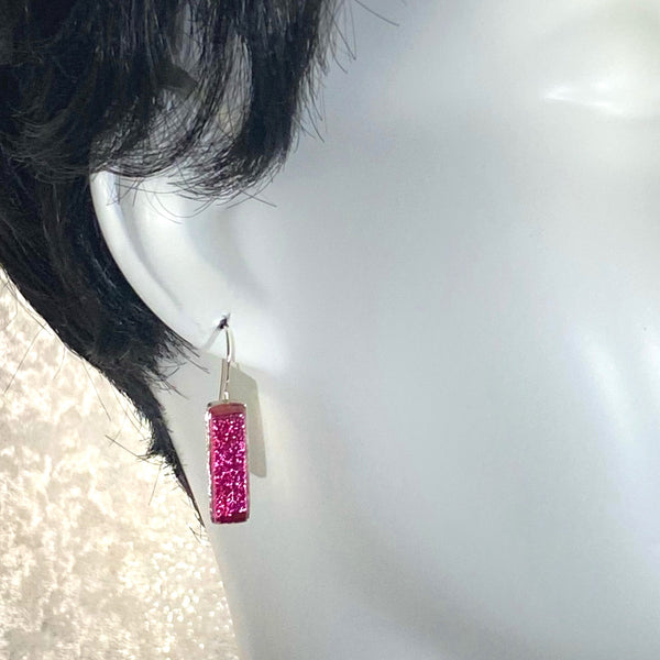 rose pink, rectangle earrings, fused glass, glass jewelry, glass and silver jewelry, handmade, handcrafted, American Craft, hand fabricated jewelry, hand fabricated jewellery, Athen, Georgia, colorful jewelry, sparkle, bullseye glass, dichroic glass, art jewelry