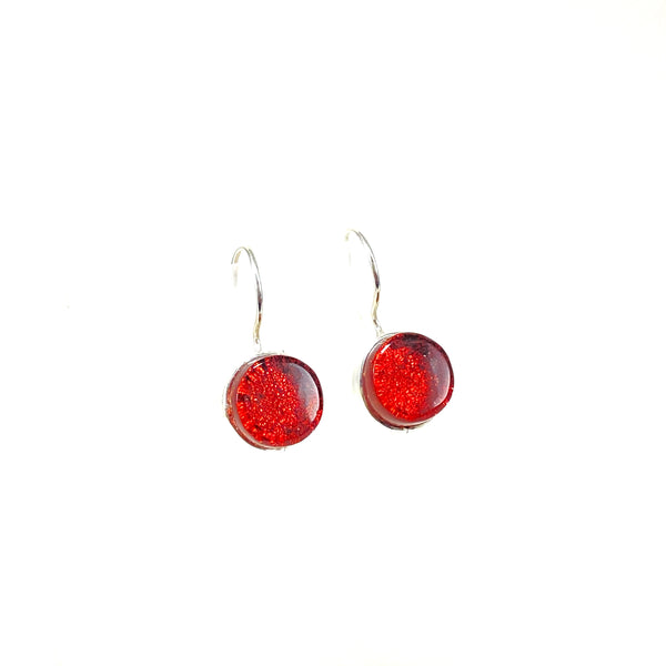 rust red, circle earrings, fused glass, glass jewelry, glass and silver jewelry, handmade, handcrafted, American Craft, hand fabricated jewelry, hand fabricated jewellery,  Athen, Georgia, colorful jewelry, sparkle, bullseye glass, dichroic glass