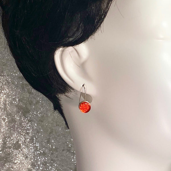 sangria, orange, circle errings, fused glass, glass jewelry, glass and silver jewelry, handmade, handcrafted, American Craft, hand fabricated jewelry, hand fabricated jewellery, Athen, Georgia, colorful jewelry, sparkle, bullseye glass, dichroic glass