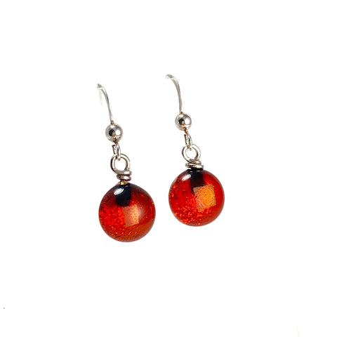 orange, space balls, sparkle, glass drops, earrings, fused glass, glass jewelry, glass and silver jewelry, handmade, handcrafted, American Craft, hand fabricated jewelry, hand fabricated jewellery, Athen, Georgia, colorful jewelry, sparkle, bullseye glass, dichroic glass, art jewelry