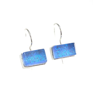 sky blue, rectangle earrings, fused glass, glass jewelry, glass and silver jewelry, handmade, handcrafted, American Craft, hand fabricated jewelry, hand fabricated jewellery,  Athen, Georgia, colorful jewelry, sparkle, bullseye glass, dichroic glass, art jewelry