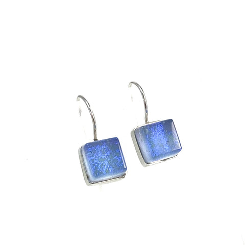 sky blue, square earrings, fused glass, glass jewelry, glass and silver jewelry, handmade, handcrafted, American Craft, hand fabricated jewelry, hand fabricated jewellery,  Athen, Georgia, colorful jewelry, sparkle, bullseye glass, dichroic glass, art jewelry