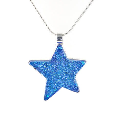 sky blue star pendant, hand cut, necklace, fused glass, glass jewelry, glass and silver jewelry, handmade, handcrafted, American Craft, hand fabricated jewelry, hand fabricated jewellery,  Athen, Georgia, colorful jewelry, sparkle, bullseye glass, dichroic glass, art jewelry