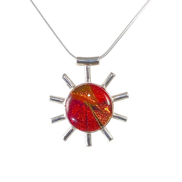 sun melange, orange, red, gold, abstract corona pendant necklace, fused glass, glass jewelry, glass and silver jewelry, handmade, handcrafted, American Craft, hand fabricated jewelry, hand fabricated jewellery, Athen, Georgia, colorful jewelry, sparkle, bullseye glass, dichroic glass, art jewelry