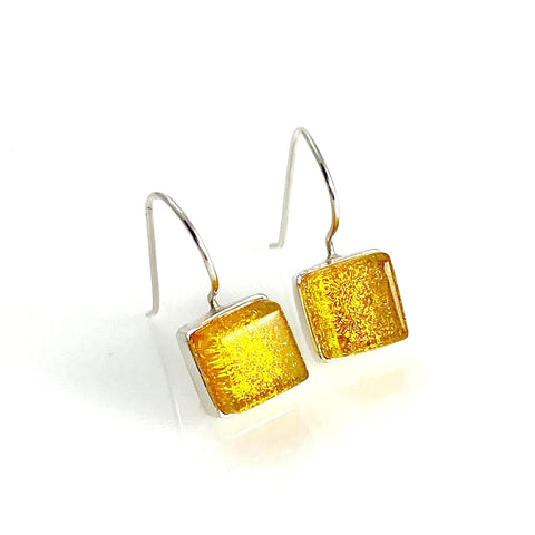 sunshine, yellow, square earrings, fused glass, glass jewelry, glass and silver jewelry, handmade, handcrafted, American Craft, hand fabricated jewelry, hand fabricated jewellery,  Athen, Georgia, colorful jewelry, sparkle, bullseye glass, dichroic glass, art jewelry