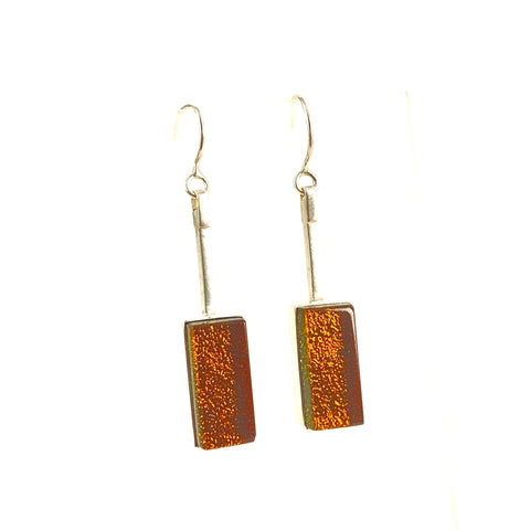 amber, rectangle, swing earrings, fused glass, glass jewelry, glass and silver jewelry, handmade, handcrafted, American Craft, hand fabricated jewelry, hand fabricated jewellery,  Athen, Georgia, colorful jewelry, sparkle, bullseye glass, dichroic glass, art jewelry