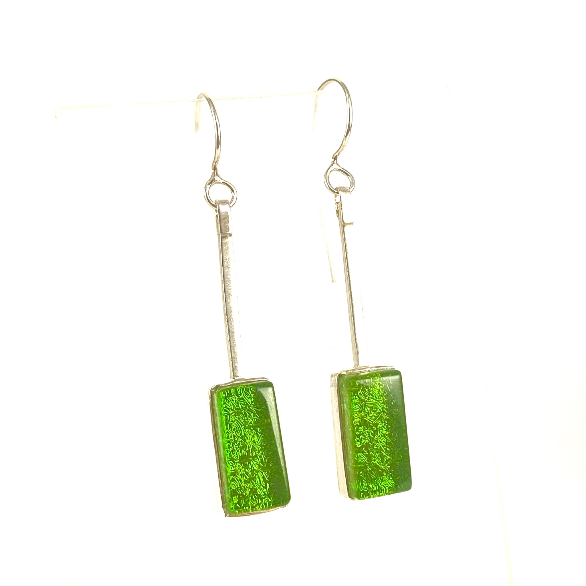 green, swing earrings, fused glass, glass jewelry, glass and silver jewelry, handmade, handcrafted, American Craft, hand fabricated jewelry, hand fabricated jewellery,  Athen, Georgia, colorful jewelry, sparkle, bullseye glass, dichroic glass, art jewelry