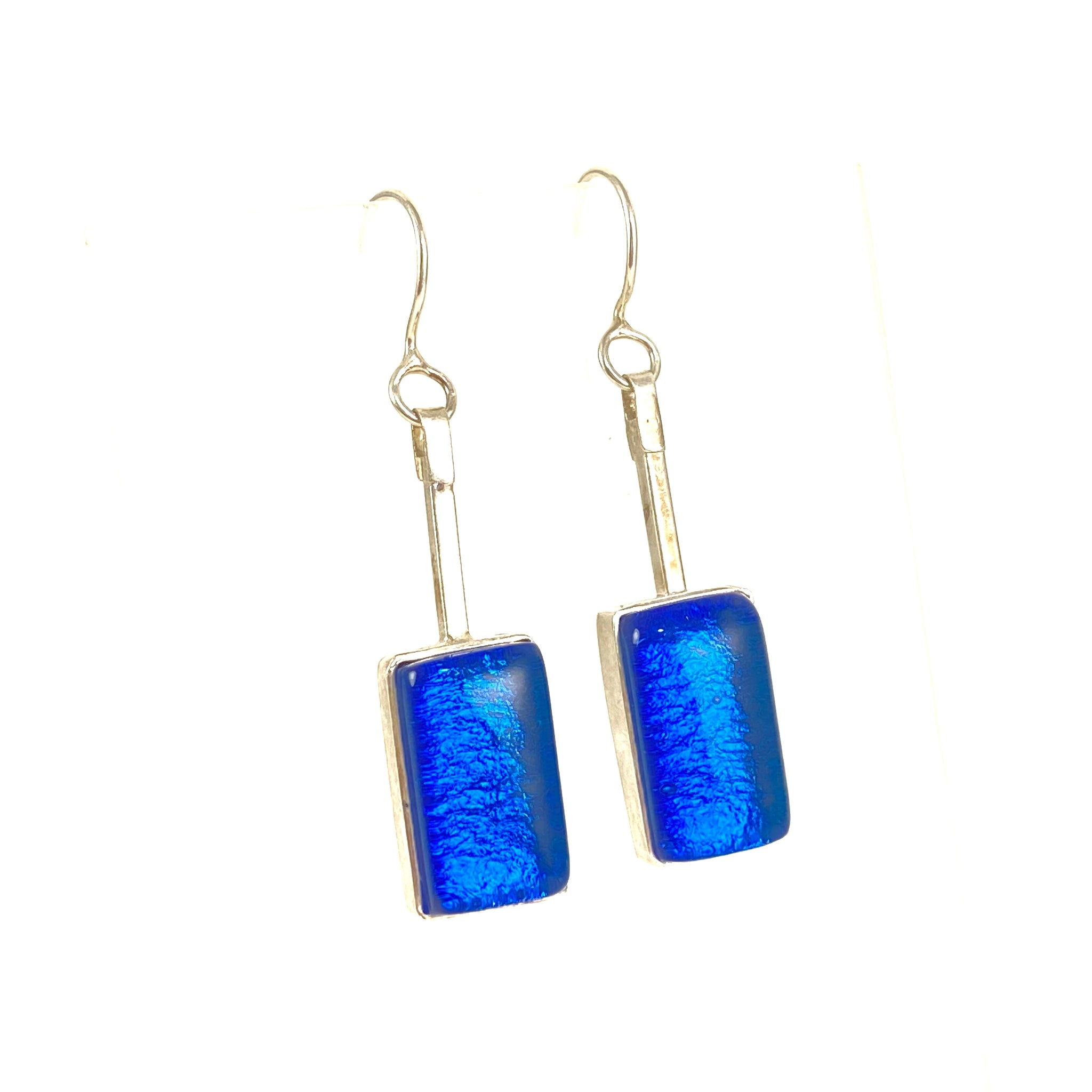 blue, swing earrings, fused glass, glass jewelry, glass and silver jewelry, handmade, handcrafted, American Craft, hand fabricated jewelry, hand fabricated jewellery,  Athen, Georgia, colorful jewelry, sparkle, bullseye glass, dichroic glass, art jewelry