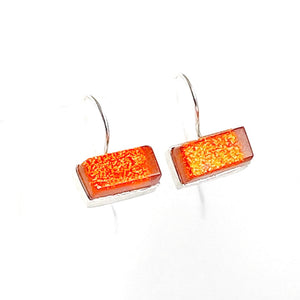 tangerine, orange rectangles, earrings, fused glass, glass jewelry, glass and silver jewelry, handmade, handcrafted, American Craft, hand fabricated jewelry, hand fabricated jewellery,  Athen, Georgia, colorful jewelry, sparkle, bullseye glass, dichroic glass, art jewelry
