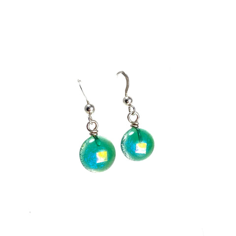green, teal, space balls, sparkle, glass drops, earrings, fused glass, glass jewelry, glass and silver jewelry, handmade, handcrafted, American Craft, hand fabricated jewelry, hand fabricated jewellery, Athen, Georgia, colorful jewelry, sparkle, bullseye glass, dichroic glass, art jewelry