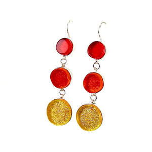 triple drop circle earrings, red, orange, yellow, fused glass, glass jewelry, glass and silver jewelry, handmade, handcrafted, American Craft, hand fabricated jewelry, hand fabricated jewellery,  Athen, Georgia, colorful jewelry, sparkle, bullseye glass, dichroic glass, art jewelry