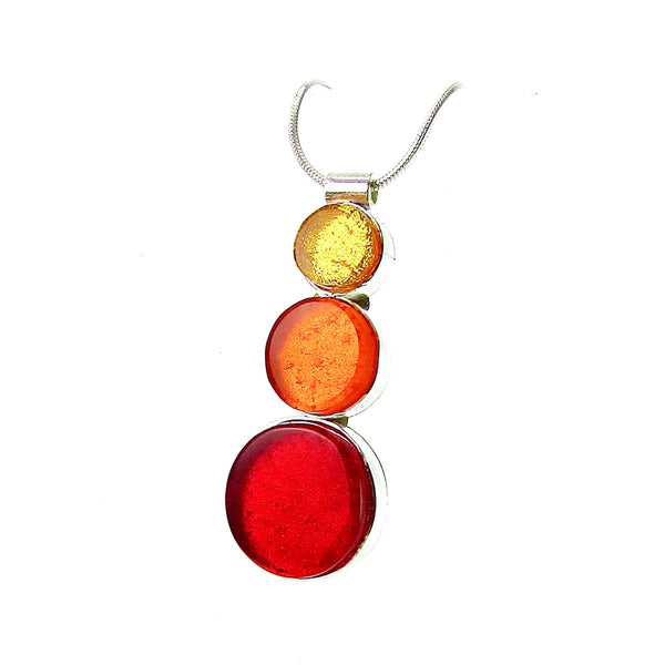 triple circle drop necklace, yellow, orange, red, fused glass, glass jewelry, glass and silver jewelry, handmade, handcrafted, American Craft, hand fabricated jewelry, hand fabricated jewellery,  Athen, Georgia, colorful jewelry, sparkle, bullseye glass, dichroic glass, art jewelry