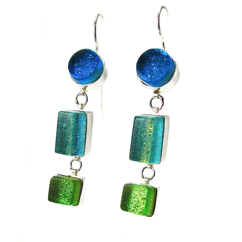 blue, green, triple drop earrings, fused glass, glass jewelry, glass and silver jewelry, handmade, handcrafted, American Craft, hand fabricated jewelry, hand fabricated jewellery,  Athen, Georgia, colorful jewelry, sparkle, bullseye glass, dichroic glass, art jewelry