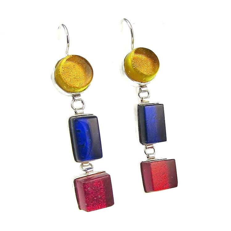 Triple Drop Earrings in Lemon, Cobalt & Cherry