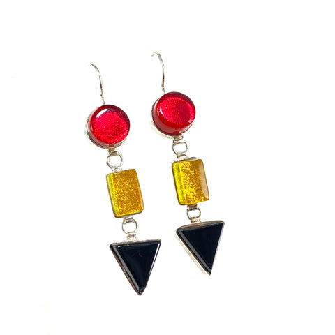 red, yellow, black, triple drop earrings, fused glass, glass jewelry, glass and silver jewelry, handmade, handcrafted, American Craft, hand fabricated jewelry, hand fabricated jewellery,  Athen, Georgia, colorful jewelry, sparkle, bullseye glass, dichroic glass, art jewelry