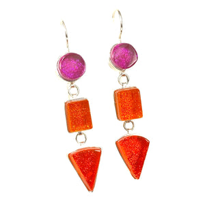 pink, orange, triple drop earrings, fused glass, glass jewelry, glass and silver jewelry, handmade, handcrafted, American Craft, hand fabricated jewelry, hand fabricated jewellery,  Athen, Georgia, colorful jewelry, sparkle, bullseye glass, dichroic glass, art jewelry