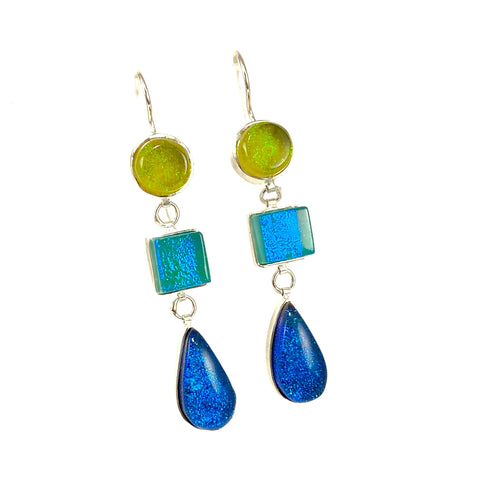 green blue, triple drop earrings, fused glass, glass jewelry, glass and silver jewelry, handmade, handcrafted, American Craft, hand fabricated jewelry, hand fabricated jewellery,  Athen, Georgia, colorful jewelry, sparkle, bullseye glass, dichroic glass, art jewelry