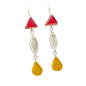 Triple Drop Earrings in Cherry, Pearl & Lemon