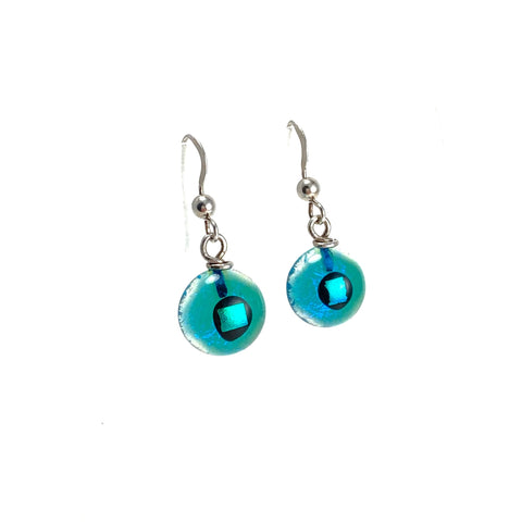 Space Ball Earrings in Turquoise Blue*