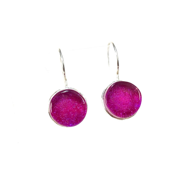 watermelon, pink, earrings, fused glass, glass jewelry, glass and silver jewelry, handmade, handcrafted, American Craft, hand fabricated jewelry, hand fabricated jewellery,  Athen, Georgia, colorful jewelry, sparkle, bullseye glass, dichroic glass