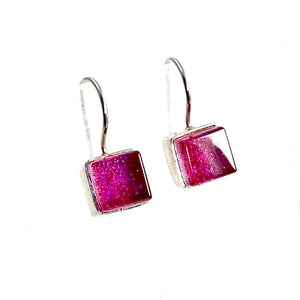 watermelon, pink, square earrings, fused glass, glass jewelry, glass and silver jewelry, handmade, handcrafted, American Craft, hand fabricated jewelry, hand fabricated jewellery,  Athen, Georgia, colorful jewelry, sparkle, bullseye glass, dichroic glass, art jewelry