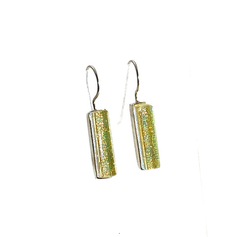 champagne, yellow, rectangle earrings, fused glass, glass jewelry, glass and silver jewelry, handmade, handcrafted, American Craft, hand fabricated jewelry, hand fabricated jewellery,  Athen, Georgia, colorful jewelry, sparkle, bullseye glass, dichroic glass