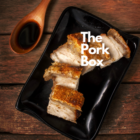 The Pork box - serves 10 guests. Crispy pork belly, Kumara miso mash, broccoli with cashews