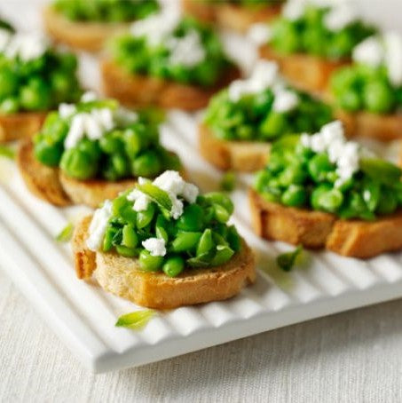 Smashed broadbeans with mint and lemon on jalapeno cornbread (Veg, gf) - Serves 20pax