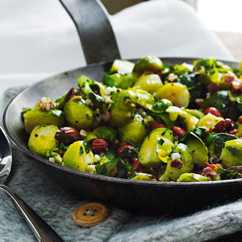 Oven roasted brussels, crispy garlic, sherry butter - Serves 20 guests, vege, gf