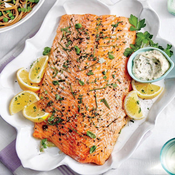 South island salmon fillet, fresh herbs, lemon remoulade. Serves 20 guests.